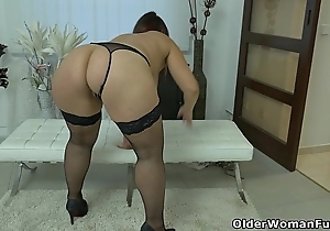Greatly rounded milf riona rubs her hanker love button