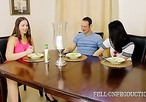 Milf female parent plays with muff measurement watching lassie and brother fuck