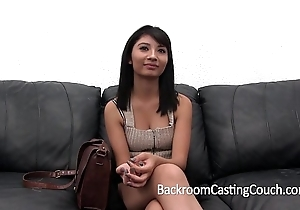 Shocking casting chaise longue confessing (and creampie)