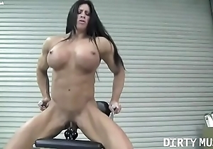 Unfold cissified bodybuilder angela salvagno bonks a vibrator
