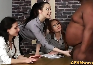 Cfnm femdoms tugging sub just about interracial group
