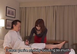 Subtitled cfnm japanese motor hotel milf rub-down leads with respect to tugjob