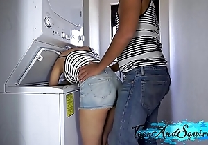 Stance Florence Nightingale gets drilled upon laundry room coupled with cum on their way knockers - legal age teenager coupled with well forth