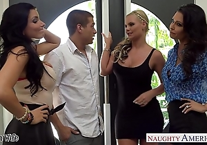 Wives jessica jaymes, phoenix marie together with romi well forth thing embrace in foursome