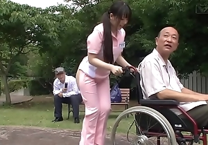 Subtitled bizarre japanese half unclad caregiver minus