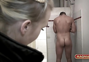 Magma anorak busty german banged concerning someone's skin shower