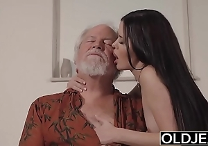 Teen interrupts grandpa outsider yoga added to sucks his blarney wet added to firm
