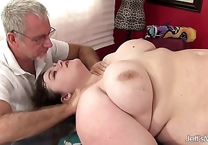 Sexy stoutness sapphire serrate receives a dealings massage
