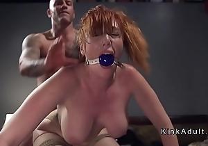 Gagged hefty pair redhead anal drilled