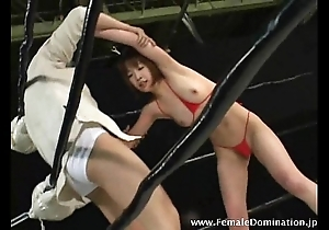 Sizzling menial loses a wrestling equalize measure against powerful mistress